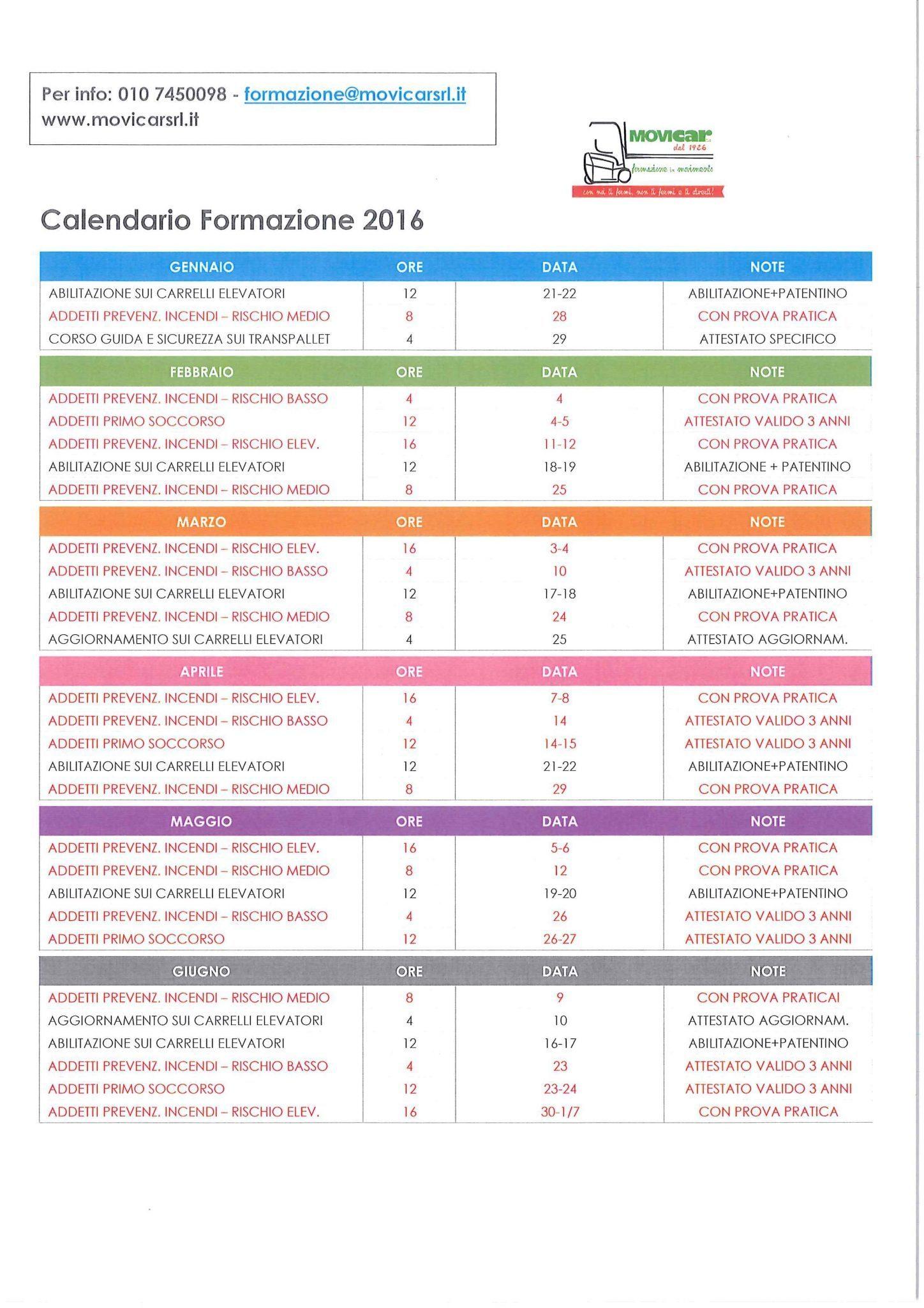 calendario formazione movicar 2016