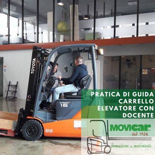 Pratica di guida su carrello elevatore con docente per le Province di Genova, Savona, Imperia, Alessandria e La Spezia